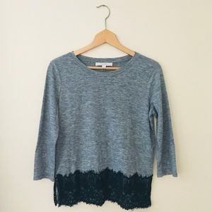 LOFT Gray Black Lace Round Crew Neck Blouse Small